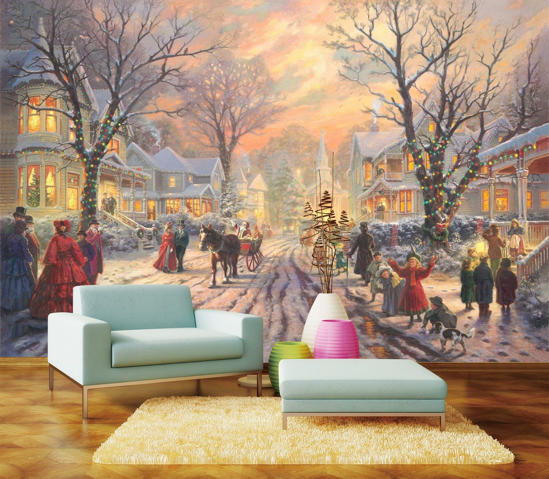 3D Christmas Eve Lively City 65 Wallpaper AJ Wallpaper