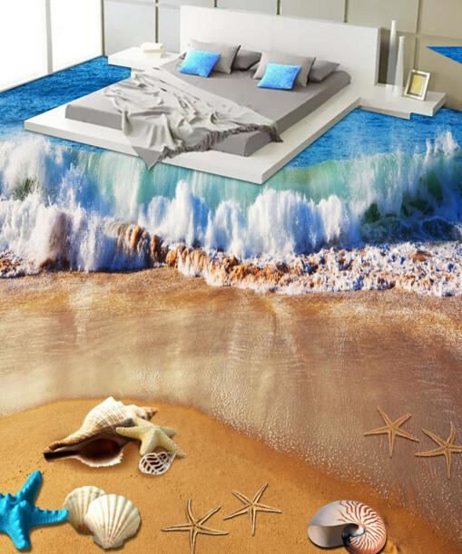3D Beach Beautiful Wave Floor Mural - AJ Walls - 2