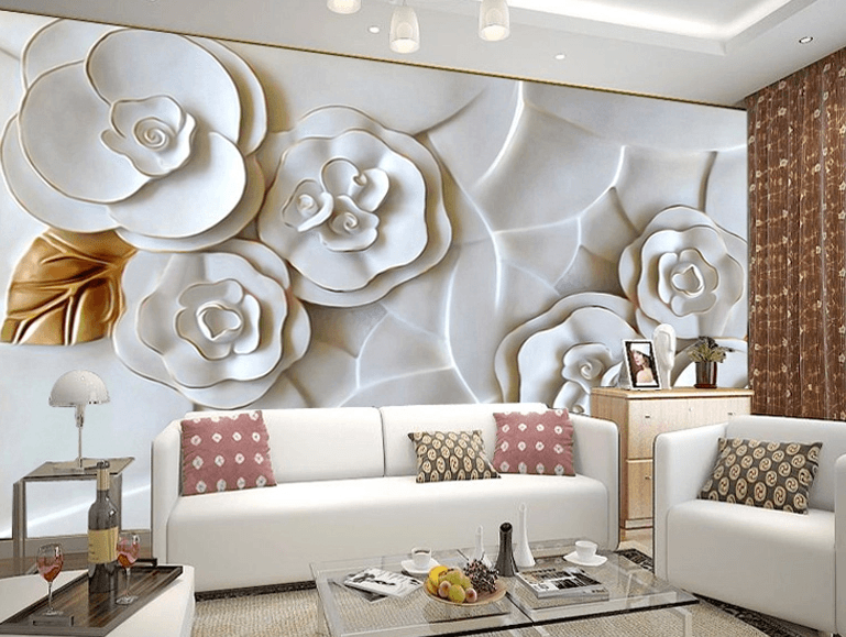 White 3D Flowers - AJ Walls - 2