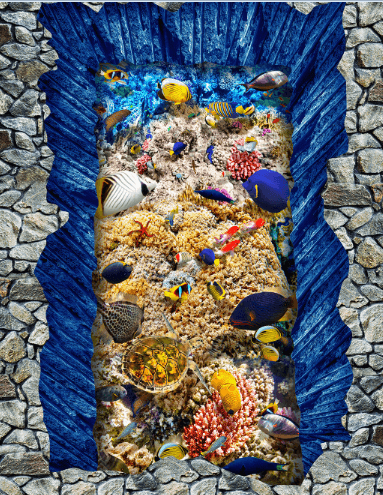 3D Colorful Seabed Floor Mural Wallpaper AJ Wallpaper 2