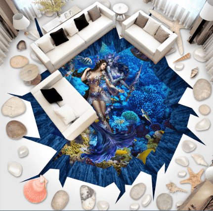 3D Sea Bottom Mermaids Floor Mural Wallpaper AJ Wallpaper 2