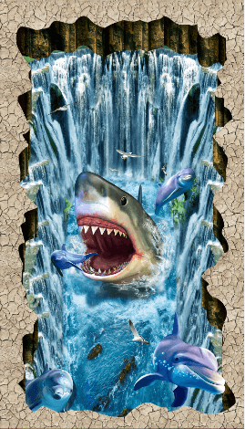 3D Shark And Dolphins Floor Mural Wallpaper AJ Wallpaper 2