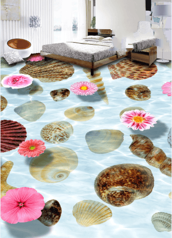 3D Seashell 062 Floor Mural Wallpaper AJ Wallpaper 2