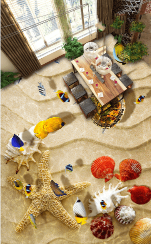 3D Lovely Beach Floor Mural Wallpaper AJ Wallpaper 2