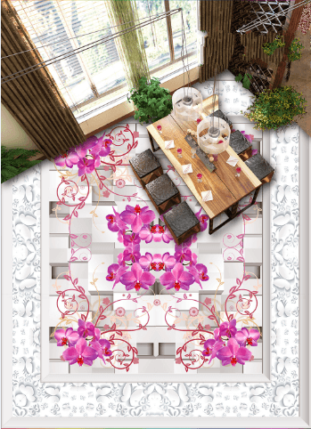 3D Elegant Flower Rattan Floor Mural Wallpaper AJ Wallpaper 2