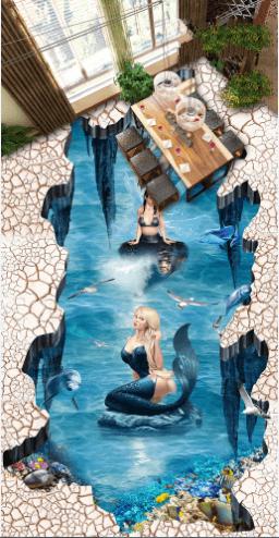 3D Elegant Mermaids Floor Mural Wallpaper AJ Wallpaper 2