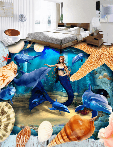3D Mermaid Dancing Floor Mural Wallpaper AJ Wallpaper 2
