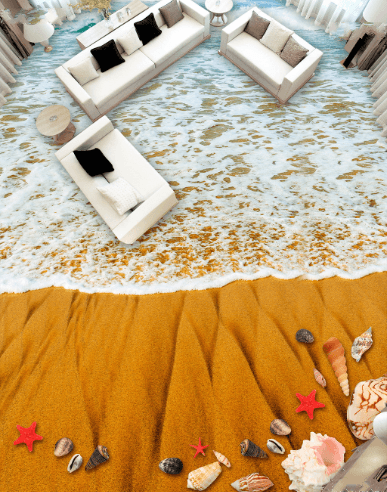3D Beach 034 Floor Mural Wallpaper AJ Wallpaper 2