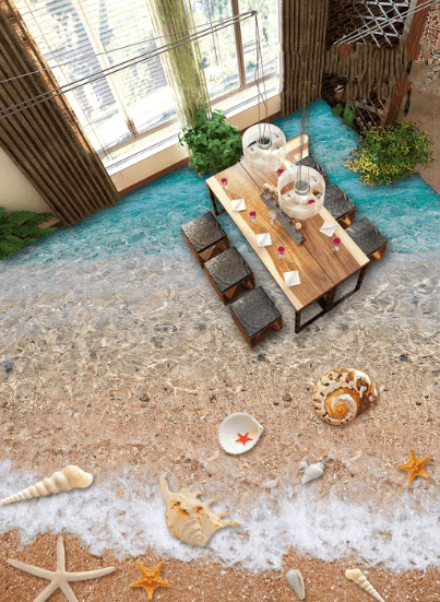 3D Beach Beautiful Things Floor Mural - AJ Walls - 2