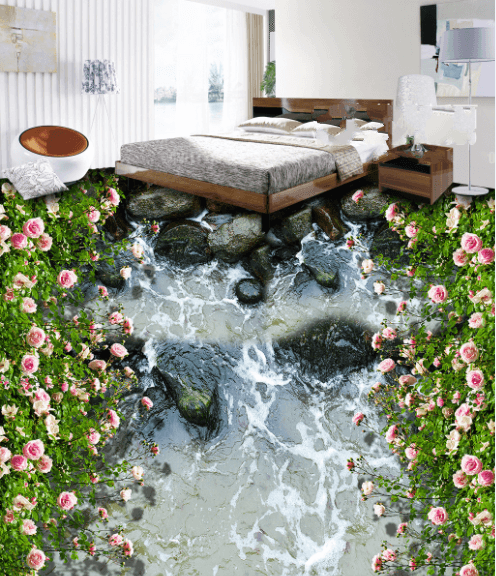 3D Stream Flowers Floor Mural Wallpaper AJ Wallpaper 2