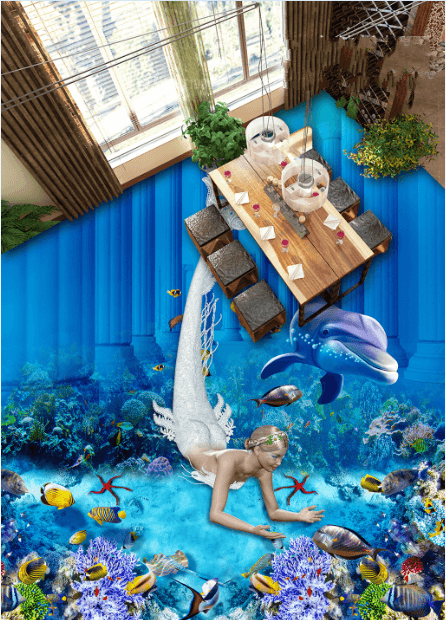 3D Deep-Sea Mermaid Floor Mural Wallpaper AJ Wallpaper 2
