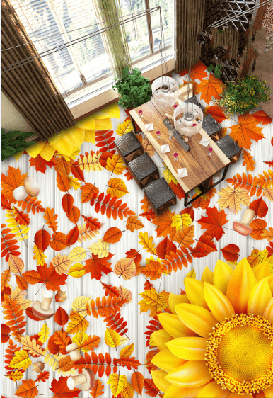 3D Blossoms And Leaves Floor Mural Wallpaper AJ Wallpaper 2