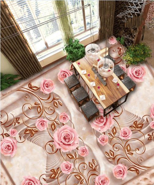 3D Flower Rattan Floor Mural Wallpaper AJ Wallpaper 2