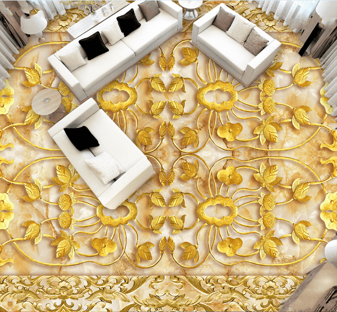 3D Golden Pattern Floor Mural Wallpaper AJ Wallpaper 2