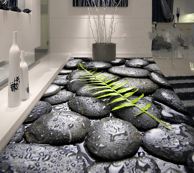 3D Leaf And Pebbles Floor Mural Wallpaper AJ Wallpaper 2
