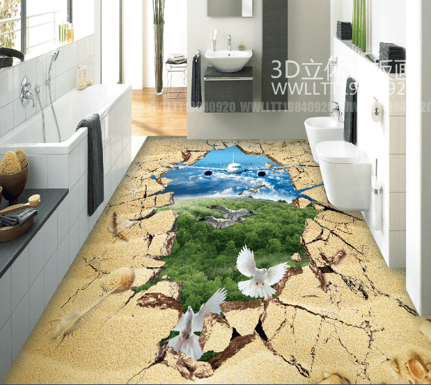 3D Plane And Birds Floor Mural Wallpaper AJ Wallpaper 2
