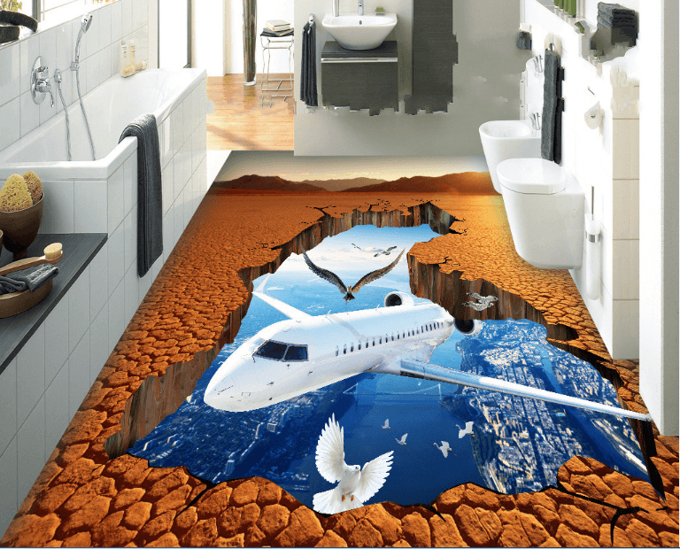 3D Plane Floor Mural Wallpaper AJ Wallpaper 2