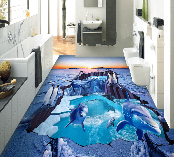 3D Dolphins And Penguins Floor Mural Wallpaper AJ Wallpaper 2
