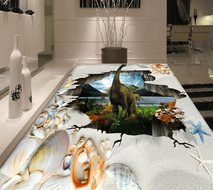 3D Dinosaur Home Floor Mural Wallpaper AJ Wallpaper 2