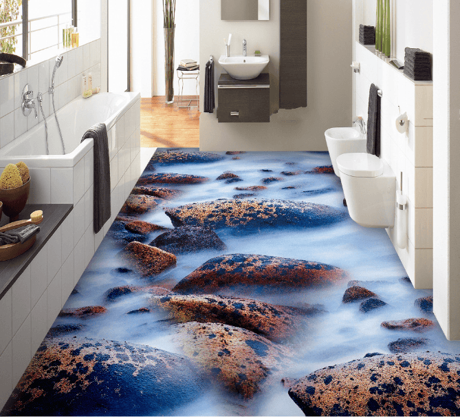 3D Mottled Stones Floor Mural Wallpaper AJ Wallpaper 2