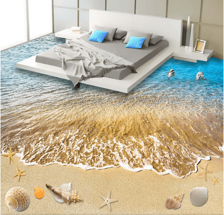 3D Lively Beach Floor Mural Wallpaper AJ Wallpaper 2
