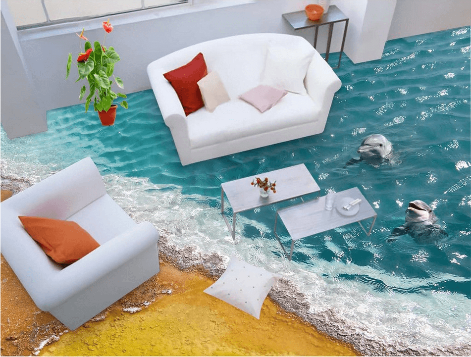 3D Beach Dolphins Floor Mural Wallpaper AJ Wallpaper 2