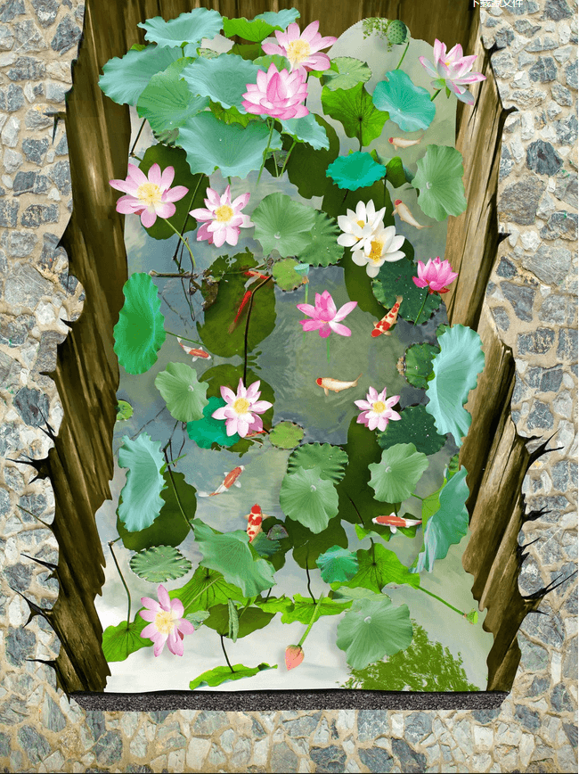 3D Hole Lotus Pond Floor Mural Wallpaper AJ Wallpaper 2
