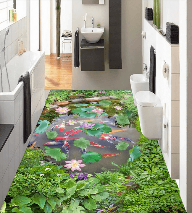 3D Small Pond Floor Mural Wallpaper AJ Wallpaper 2