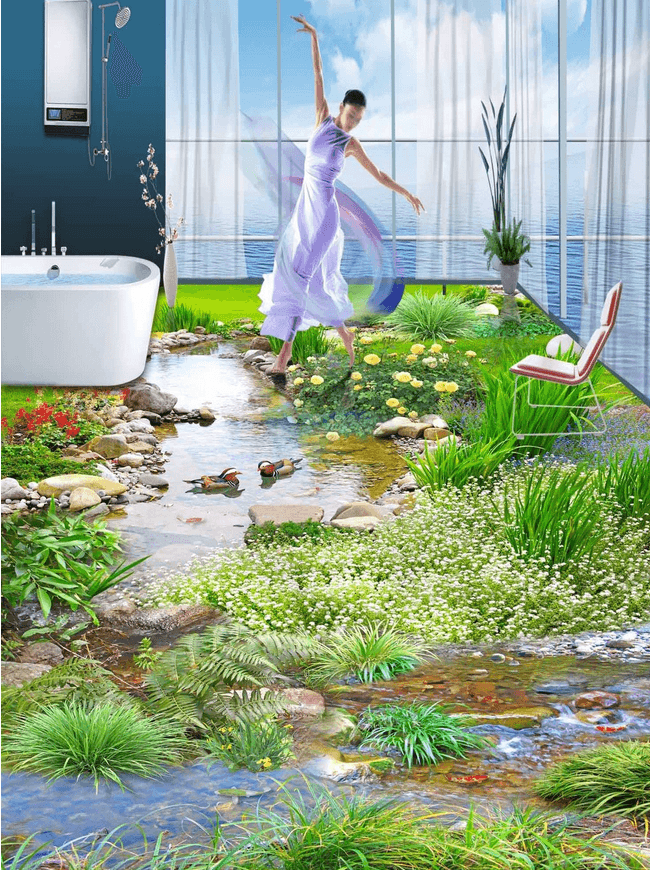 3D Fresh Stream Floor Mural Wallpaper AJ Wallpaper 2