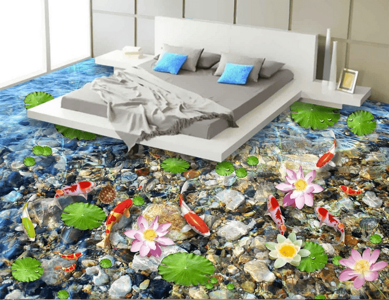 3D Lotus And Fish Floor Mural Wallpaper AJ Wallpaper 2