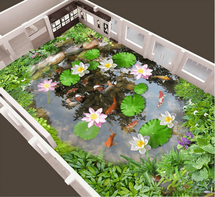 3D Small Lotus Pond Floor Mural Wallpaper AJ Wallpaper 2