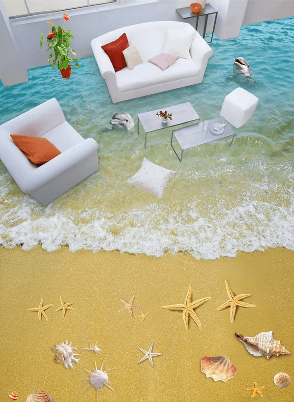 3D Gorgeous Beach Floor Mural Wallpaper AJ Wallpaper 2