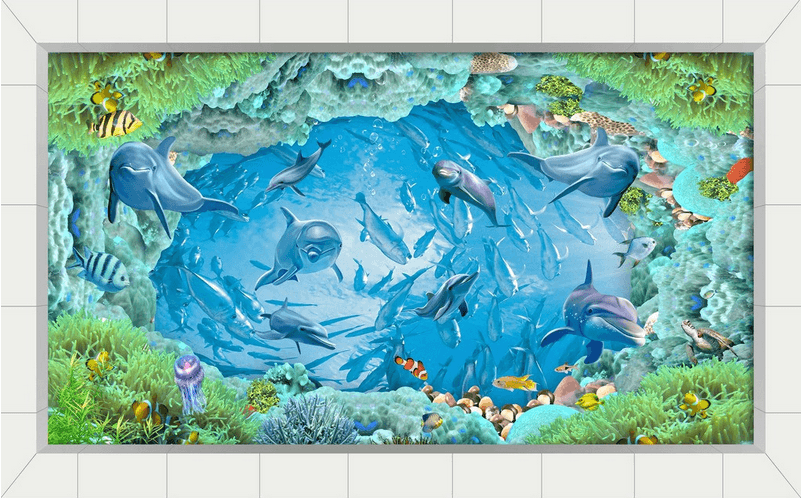 3D Fish School Floor Mural Wallpaper AJ Wallpaper 2