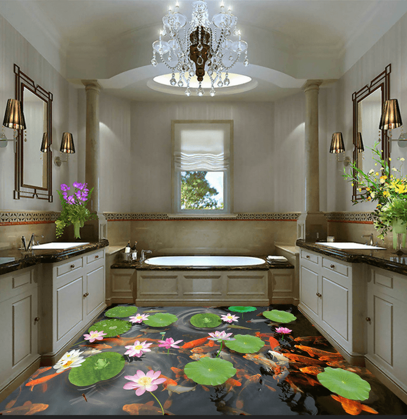 3D Elegant Lotus Floor Mural Wallpaper AJ Wallpaper 2