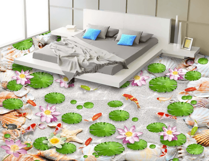 3D Lotus Beach Floor Mural Wallpaper AJ Wallpaper 2