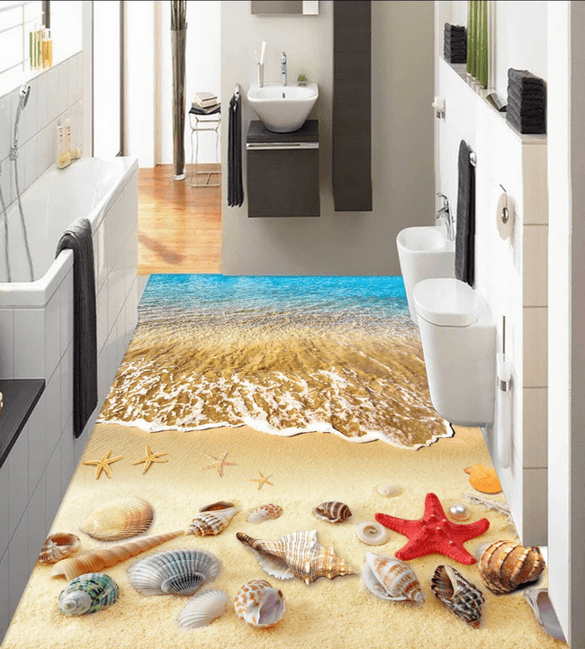 3D Charming Beach Floor Mural Wallpaper AJ Wallpaper 2