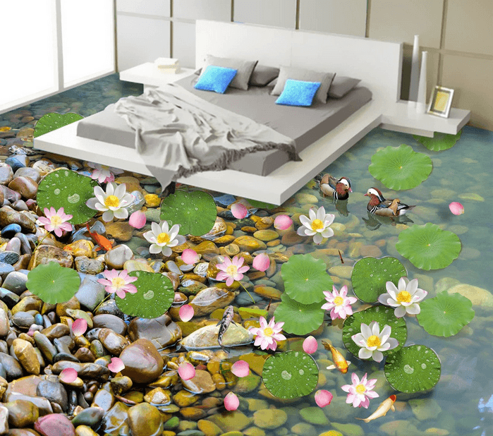 3D Pond Side Floor Mural Wallpaper AJ Wallpaper 2