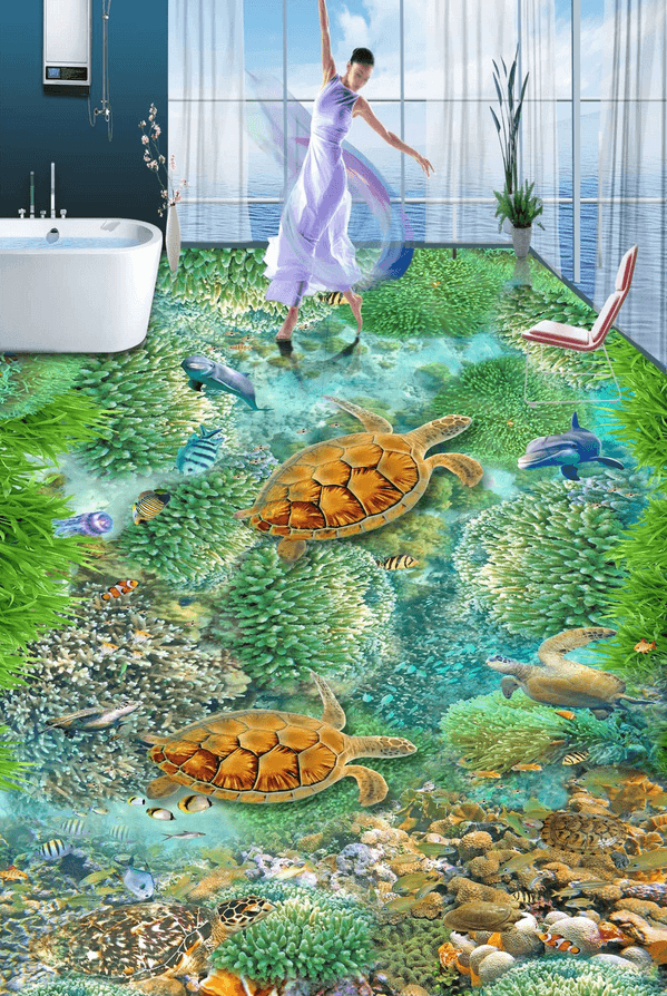 3D Sea Turtles Floor Mural Wallpaper AJ Wallpaper 2
