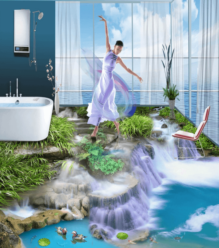 3D Stream Waterfall Floor Mural Wallpaper AJ Wallpaper 2