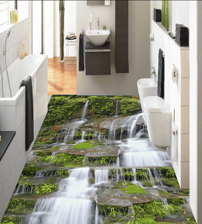 3D Waterfall Scenery Floor Mural Wallpaper AJ Wallpaper 2