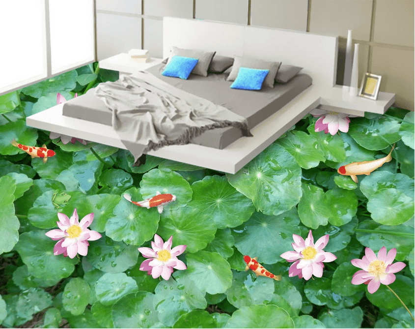 3D Green Lotus Pond Floor Mural Wallpaper AJ Wallpaper 2