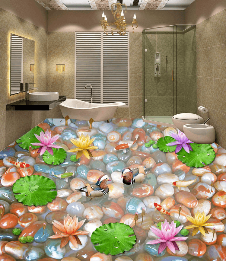 3D Colorful Pebbles Floor Mural Wallpaper AJ Wallpaper 2