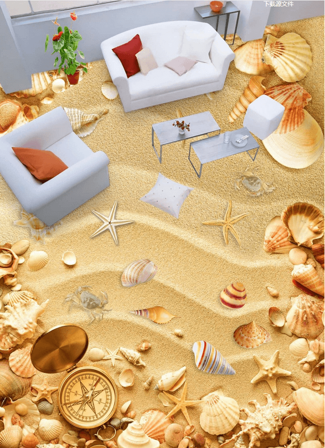 3D Sand Beach Floor Mural Wallpaper AJ Wallpaper 2