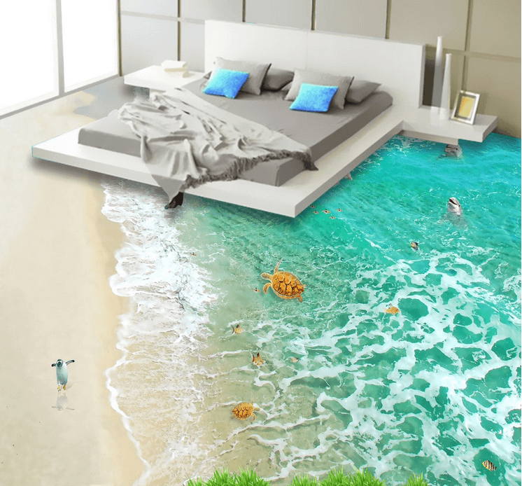 3D Beach Animals Floor Mural - AJ Walls - 2