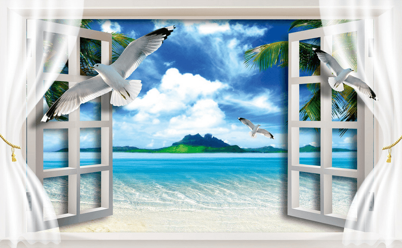 Window Blue Sea Wallpaper AJ Wallpaper