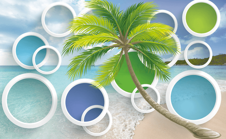 Beach And Colored Circles Wallpaper AJ Wallpaper