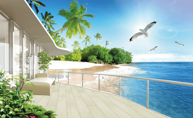 Balcony Ocean Scenery Wallpaper AJ Wallpaper