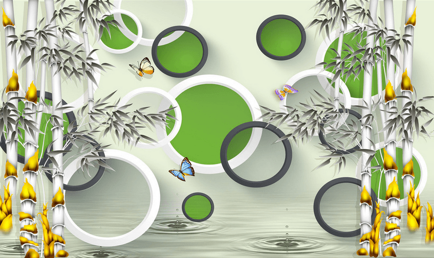 Bamboos And Circles Wallpaper AJ Wallpaper