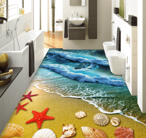 3D Waves Surging 072 Floor Mural