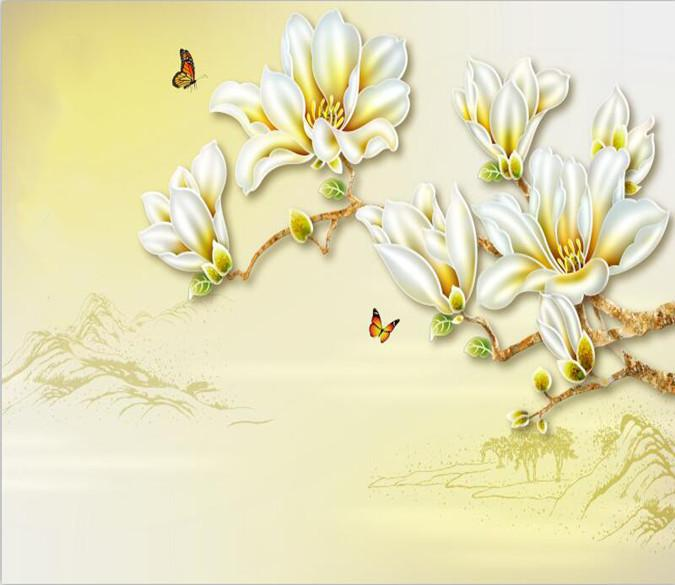 White Blossoming Flower 827 Wallpaper AJ Wallpaper 1